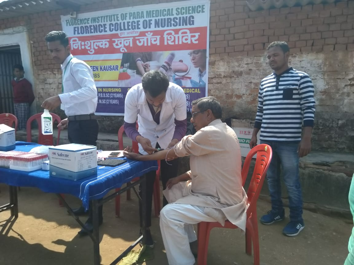 Free Medical Health Check-up, At - Manuwa & Ramgarh by students of Florence Institute of Paramedical Science 2019